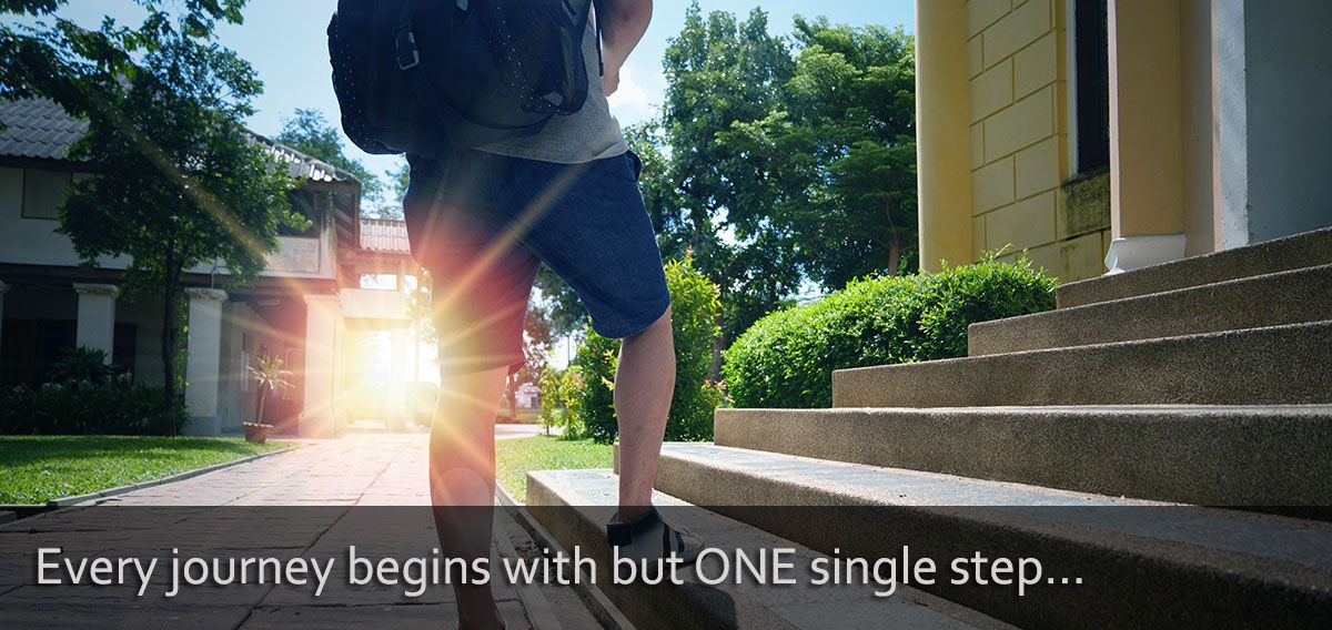 Positive image of taking the first step: Every journey begins with but one step